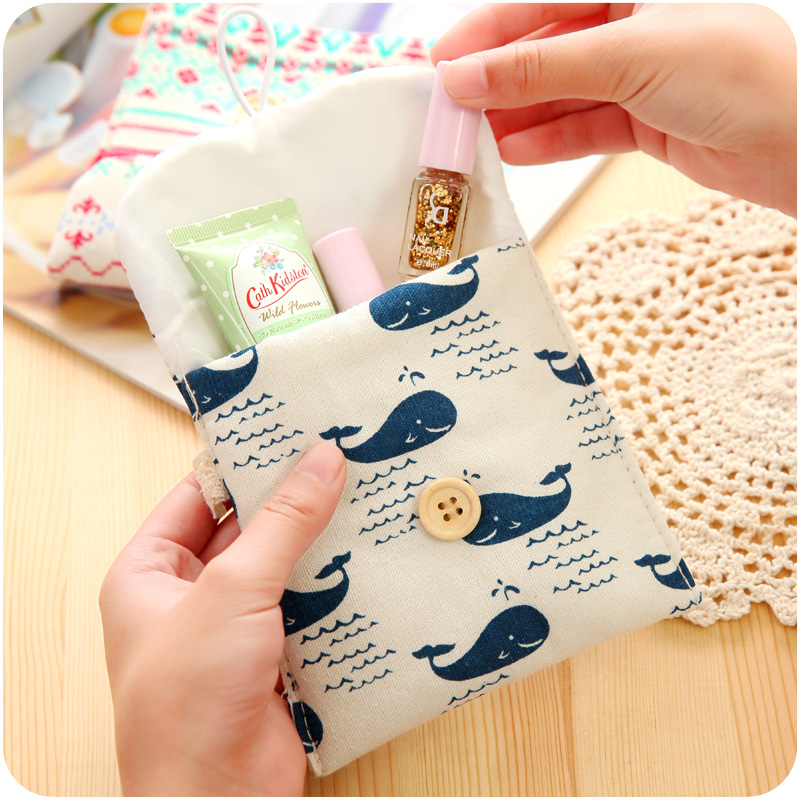 8 Colors Brief Cotton Full Dots Sanitary Napkin Bags Sanitary Towel Storage Bag F4774(China (Mainland))