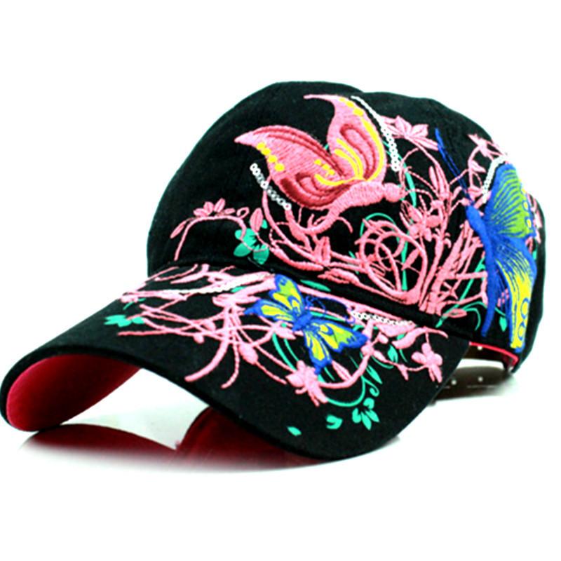 high quality baseball hat cap butterflies and flowers