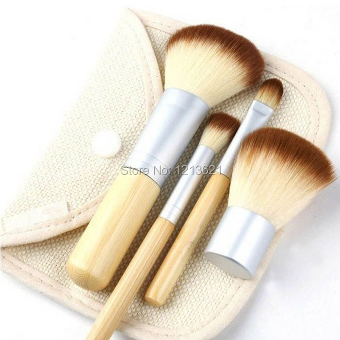 Bamboo Handle 4pcs Foundation Powder Bronzer Concealer Kabuki Makeup Brush set(China (Mainland))