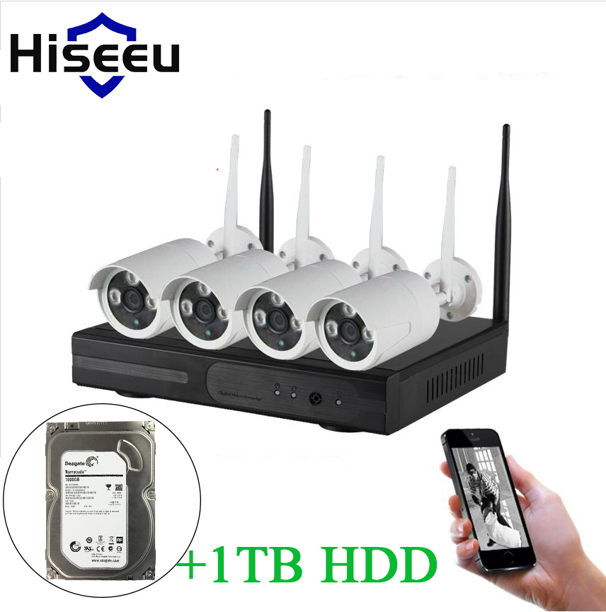 Hiseeu 720P WIFI CCTV System 4CH Wireless NVR 1TB HDD IP Camera IR-CUT Bullet CCTV Camera Security System Surveillance Kits(China (Mainland))