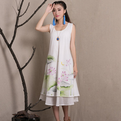 Summer Dress Women China Folk Style Long Loose Big Swing Cotton Sleeveless Vest Dress New Chinese Print White Dresses for Woman(China (Mainland))