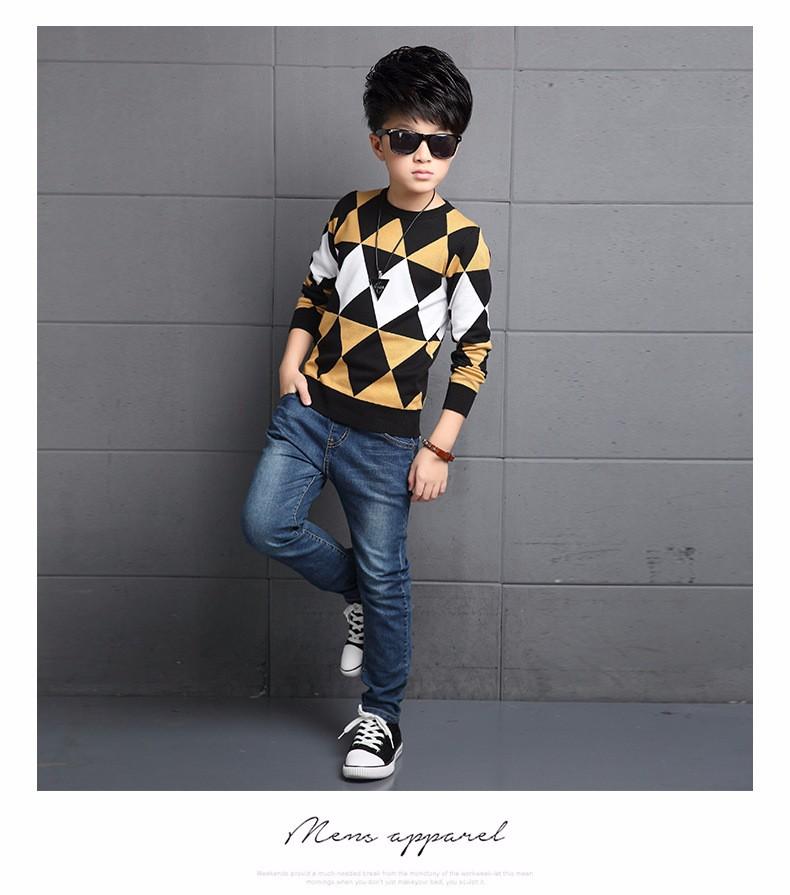 Скидки на Корейский Весна мальчик свитер ромб хлопок джокер моды дети с длинным рукавом трикотаж случайные тепло комфорт подросток топы