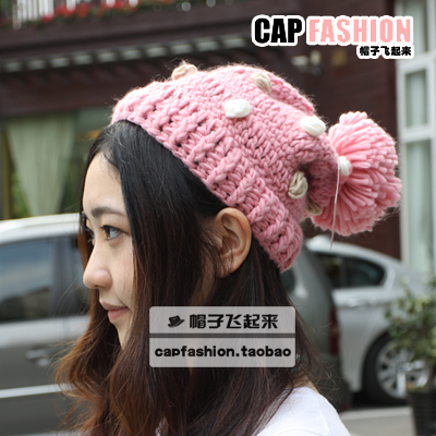 Multicolour small multi-colored knitting wool cap knitted hat