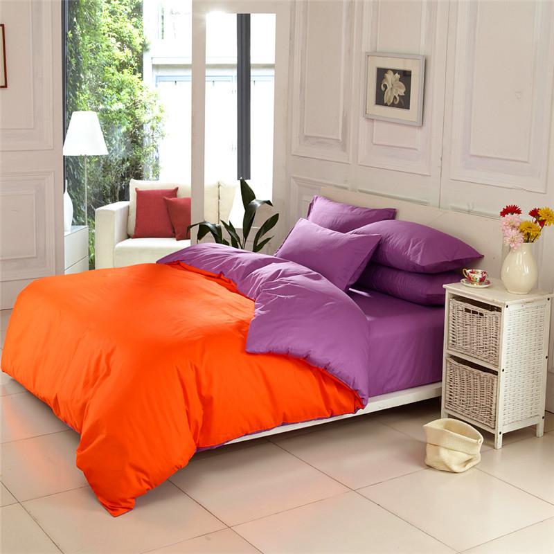 36 colors simple elegant 100 cotton solid color orange - Orange and purple bedding ...
