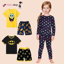 Hot selling boys girls clothes cartoon design girl clothing set  brand children clothing set 2016 summer kids clothes pajamas(China (Mainland))