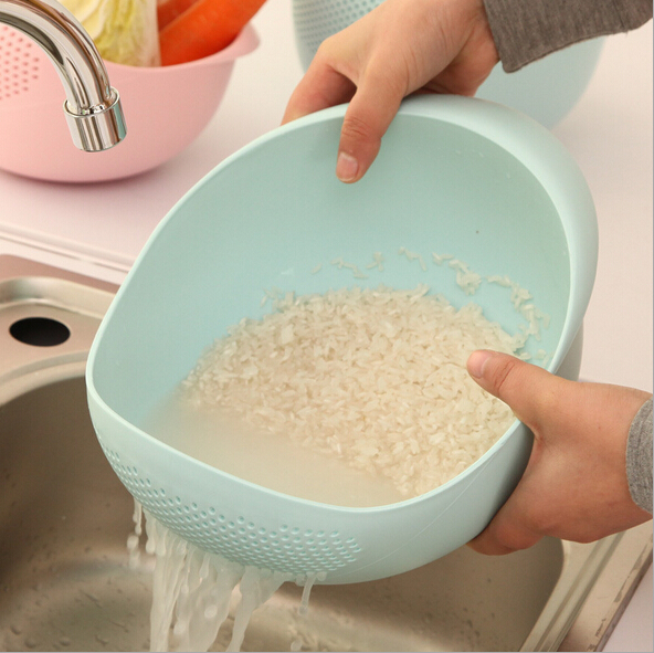 plastic Clean Rice Machine Vegetables basin wash rice sieve fruit bowl fruit basket the kitchen good cooking tools(China (Mainland))
