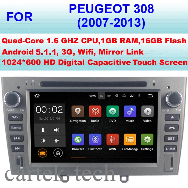 Quad Core Android 5.1.1 Car Radio GPS For Peugeot 308 Car DVD Player (2007-2013) Stereo Audio WiFi 3G Mirror Link Pixel 1024*600(China (Mainland))