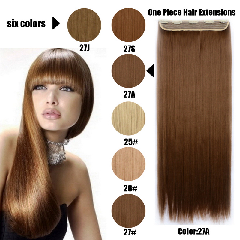 Natural Synthetic Clip In Hair Extensions Heat Resistant Brown Blonde Cheap Price High Quality 6 Colors Hair Pieces For Women<br><br>Aliexpress