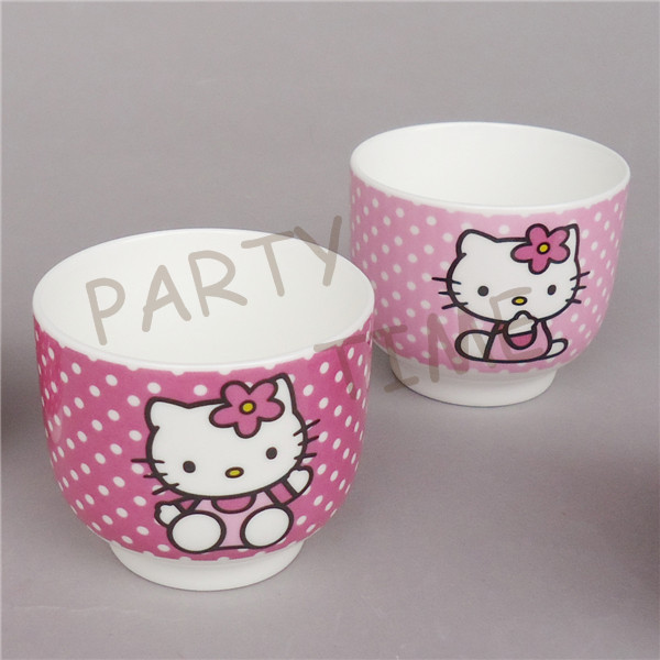Ceramic color tea cup, hello kitty desigh cup for party and garden, cake cup(China (Mainland))