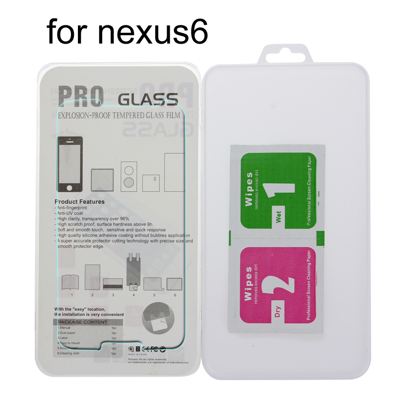 1000Pcs 0.3mm Premium Tempered Glass Screen Protector for Nexus 6 2.5D Arc Edge 9H Hard Protective Film + Retail Package(China (Mainland))