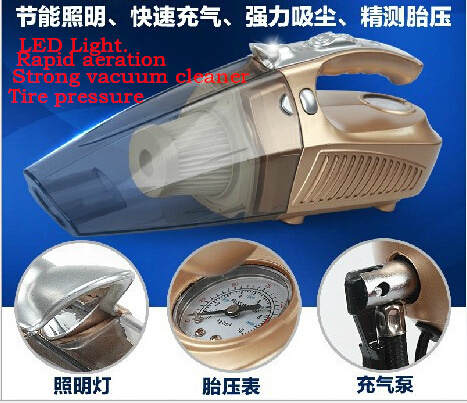 Car vacuum cleaner wet + dry use super suction 4.5meters cable 12v 100W tile car vacuum cleaner Inflation Tire pressure LED(China (Mainland))