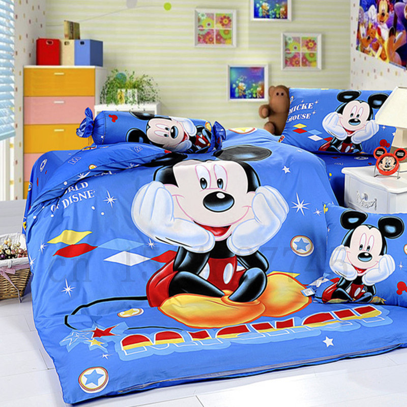 Cartoon Mickey Mouse Cute Cotton Twin Queen Reversible Bed Duvet Quilt Cover Set kids Children Boys in choice of 14 patterns H(China (Mainland))