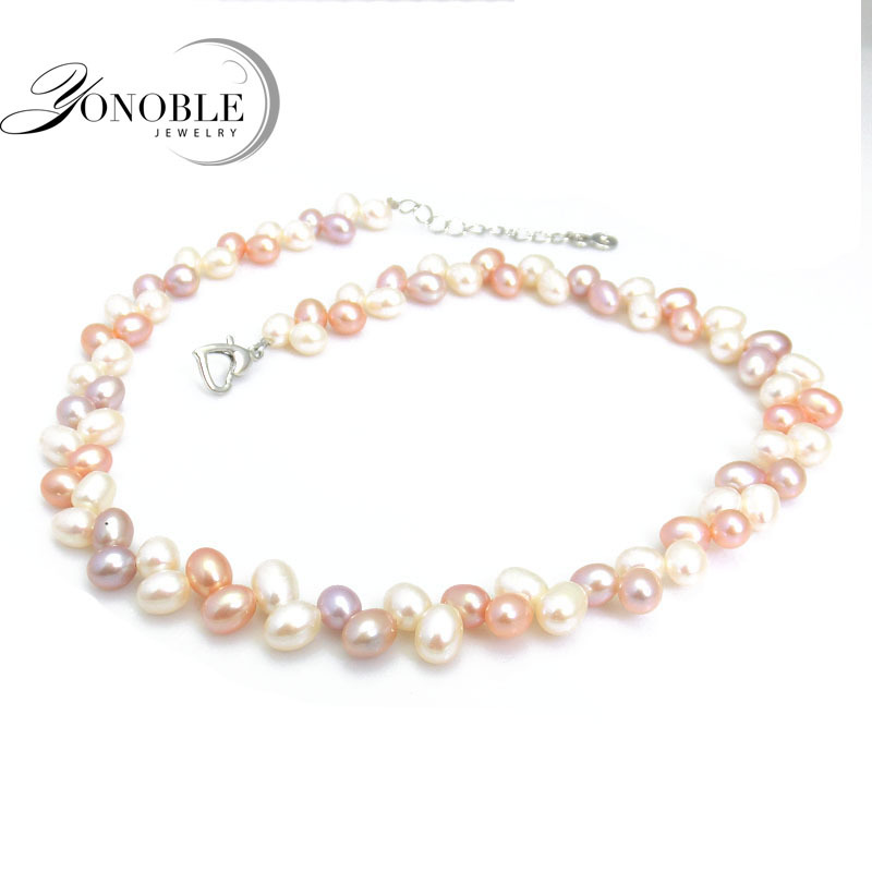 Real freshwater natural pearl necklaces women,white multi multilayer pearl necklace chunky fine jewelry collar perlas white