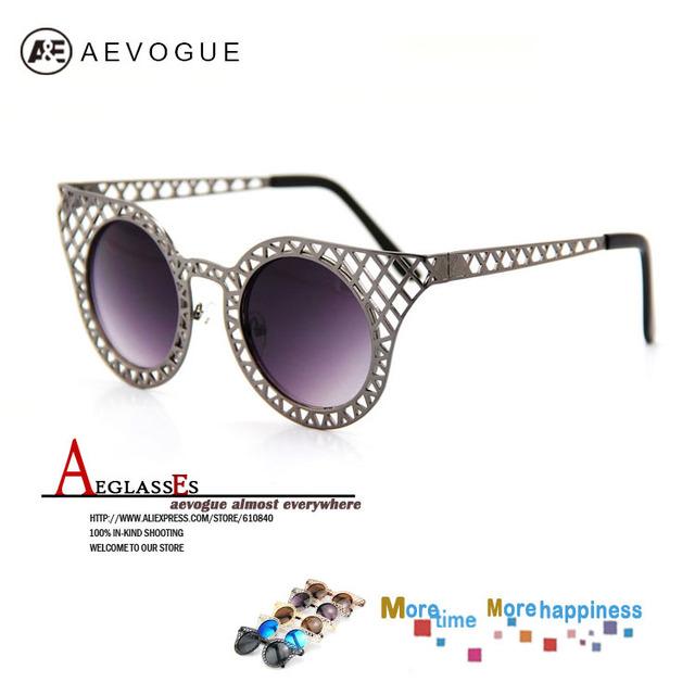 2014 Newest aevogue бренд металл ажурная рама солнцезащитные очки женщин круг кадр прозрачные линзы мужчины AE0053