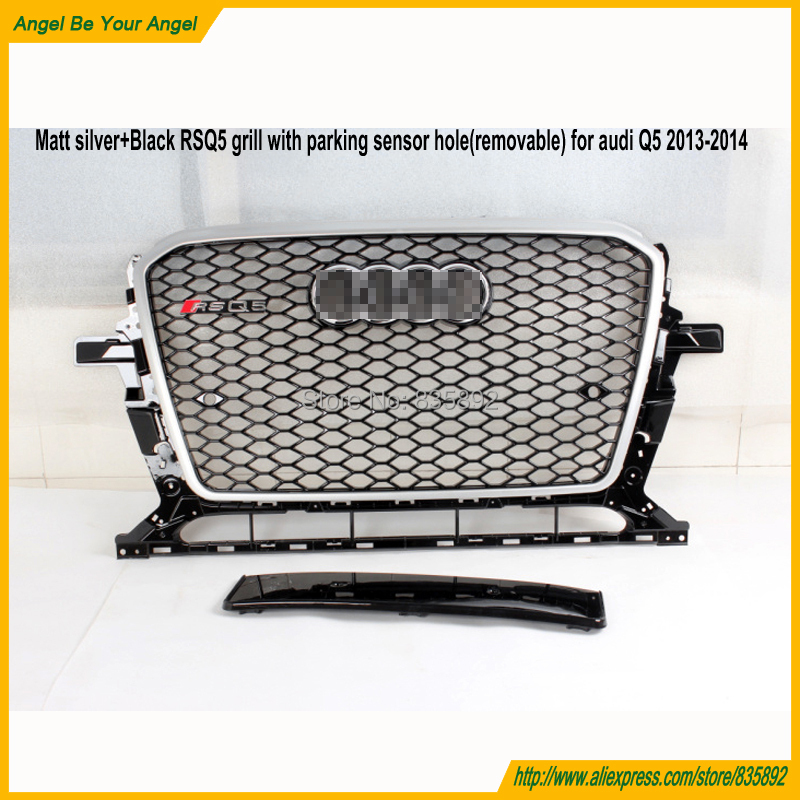 Matt silver frame Car grills RSQ5 facelift grill Q5 front bumper grills with parking hole mesh grille for Audi Q5 2013-2014(China (Mainland))