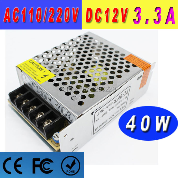 dc source variable 40W 12V 3.3A Switching Power Supply for led lighting project Transformers 100-240V Ac to DC SMPS with CNC(China (Mainland))