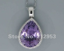 Vintage 16.50Ct Solid 14Kt White Gold Natural  Purple Amethyst Pendant(China (Mainland))