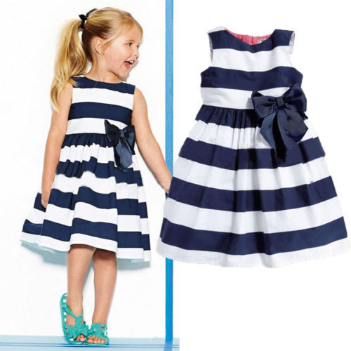 2015 Princess Baby Kids Girls Dress Stripe Bow Party Gown Dresses(China (Mainland))
