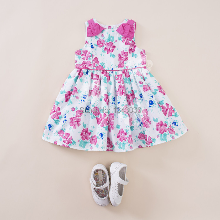 &E-babe&Wholesale 2015 NEW Baby Girls Summer Brand Princess Printed Floral Bowknot Cute Party Cotton Dress Toddler Kids Sundress(China (Mainland))