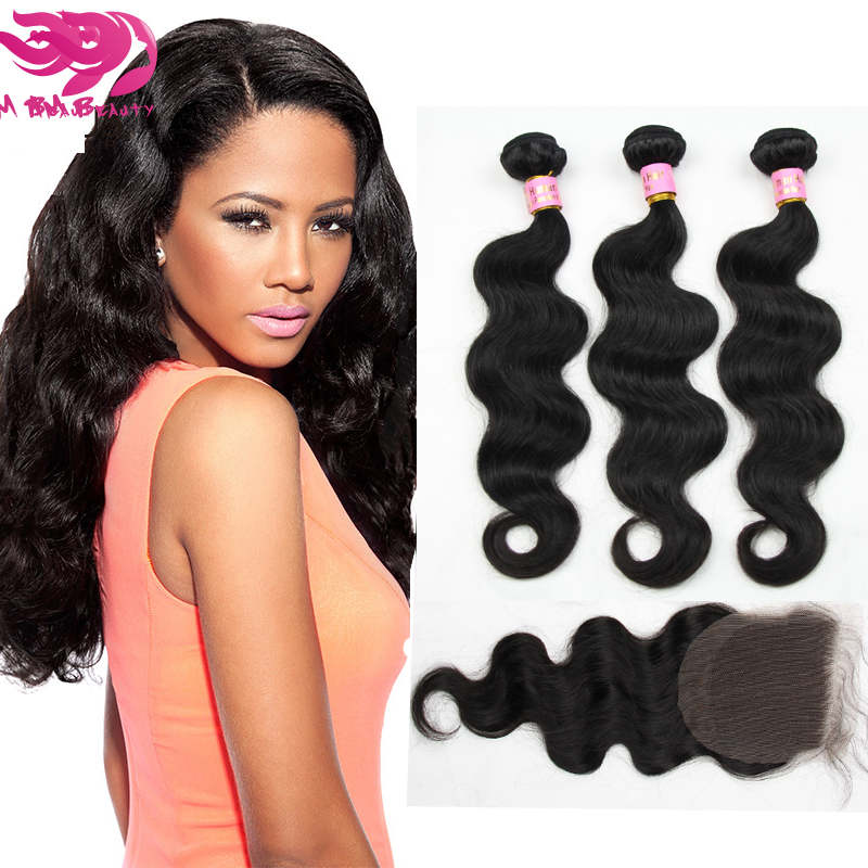 Unprocessed Remy Cambodian Human Virgin Hair Weave 3pcs Bundles With 1pc Lace Closure Body Wave With Gifts<br>