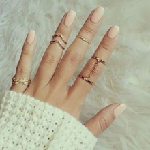 Ebay and Aliexpress hot sale knuckle phalange ring gold and silver plated 6pcs set statement midi ring sets for women wholesale