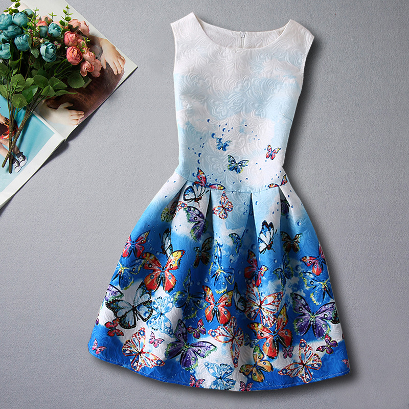 2016 Summer Girls Dresses For Girls Princess Dresses Butterfly Flower Print Designer Formal Teenagers Party Dress Kids Clothes(China (Mainland))