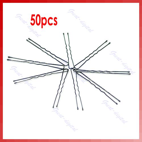 Free Shipping 50pcs U-shaped 50mm Hair Pin Clip Hair Grips Black New Y106(China (Mainland))