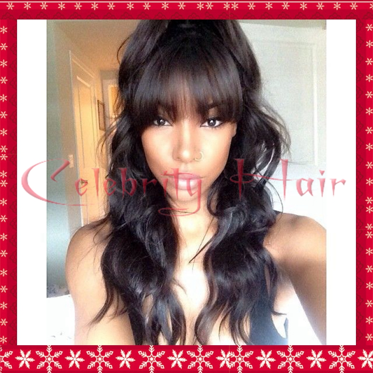 Full lace wigs with bangs glueless full lace synthetic wigs top quality 150% density body wave lace wigs baby hair black hair <br><br>Aliexpress