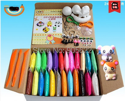 Wholesale jumping clay ,air dry clay ,24colour ,each 20g,total 480g ,playdoh +Free shipping +Free Tutorial+Free gift(China (Mainland))