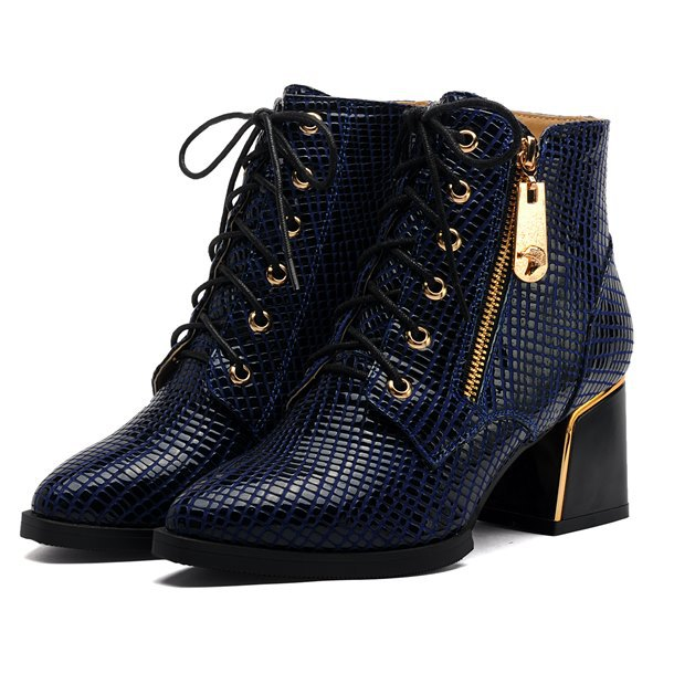 Classical fashion brand snake skin design women ankle boots Genuine leather pointed toe thick heels women motorcycle boots(China (Mainland))