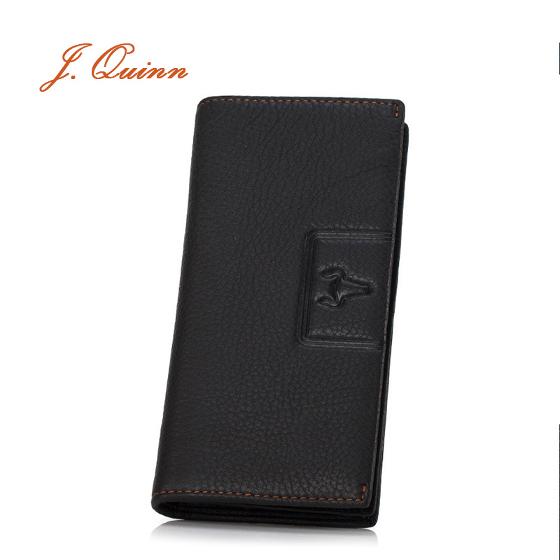J.Quinn Cool Men Portfolios Business Wallet Long Billfolds 11 Card 4 Note Compartment Fashion Dress Mens Wallets Genuine Leather(China (Mainland))