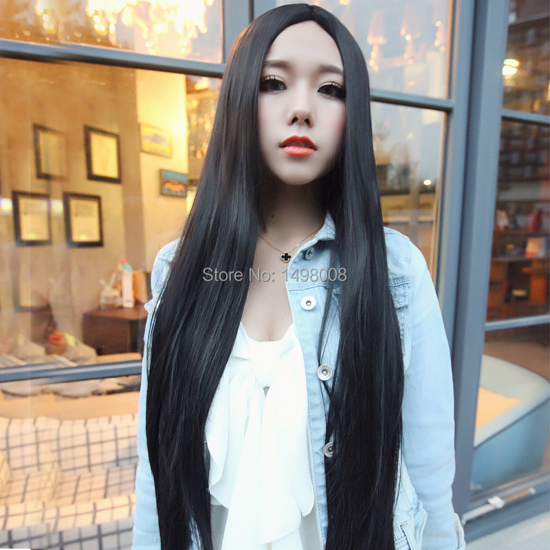 women Long Hair Wigs straight looks Nature 80 cm length Lace Front wig full synthetic hair cosplay Black Dark Light Brown(China (Mainland))