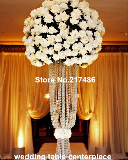 Tall acrylic crystal flower stand for wedding table