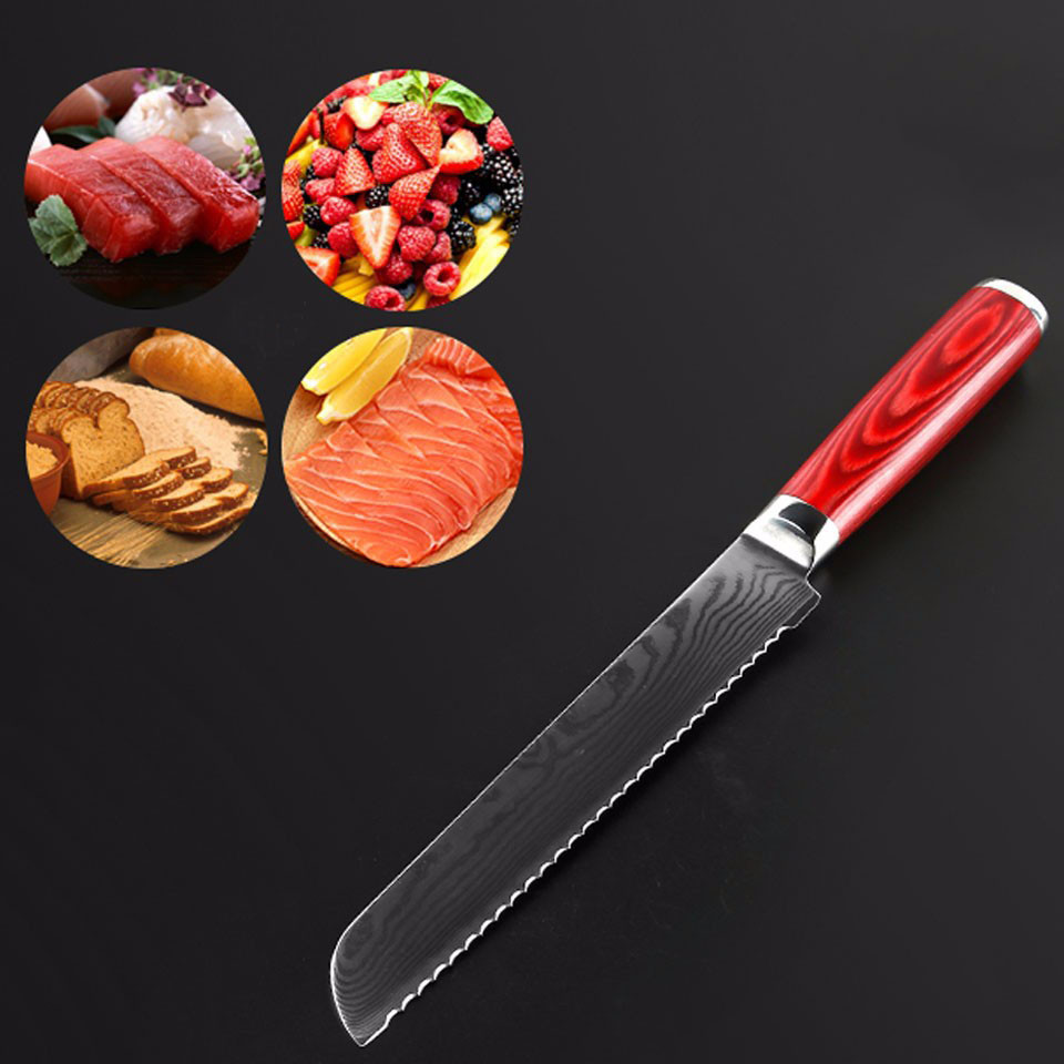 Buy Brand Mr.W Damascus Knife 8 inch Bread Knife With Wooden Handle Japanese AUS-11 Damascus Stainless Steel Kitchen Kitchen Knives cheap