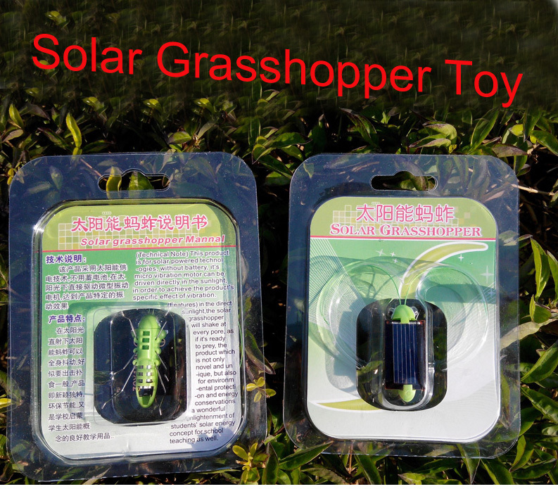 Newest Plastic Solar Energy Grasshopper Toy Best Electric Cricket For Kids Solar Education(China (Mainland))