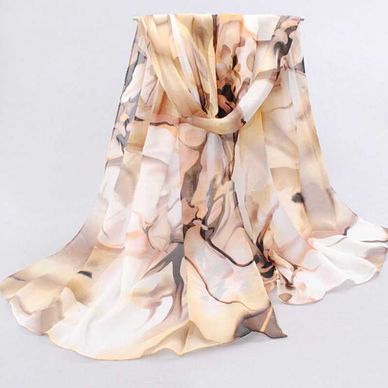 Free Shipping 1pc Women Favors Fashion Long Chiffon Scarf Shawl China Oil Drawing Pattern(China (Mainland))