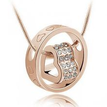 New 2015 Women Heart Crystal Rhinestone Necklace Pendant Love Gift For Wife Daughter(China (Mainland))
