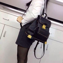 2016 new Vintage style Nappa Full Grain Leather Rivet Gold Hardware Vintage style Women Backpacks bags 25*24*15cm(China (Mainland))