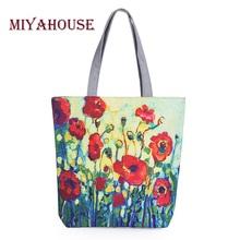Miyahouse Floral Printed Canvas Tote Female Single Shopping Bags Large Capacity Women Canvas Beach Bags Casual Tote Feminina(China (Mainland))