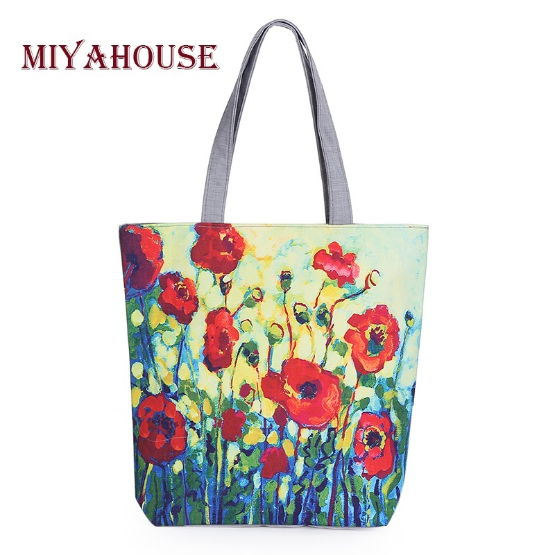 Miyahouse Floral Printed Canvas Tote Female Single Shopping Bags Large Capacity Women Canvas Beach Bags Casual Tote Feminina(China (Mainland))