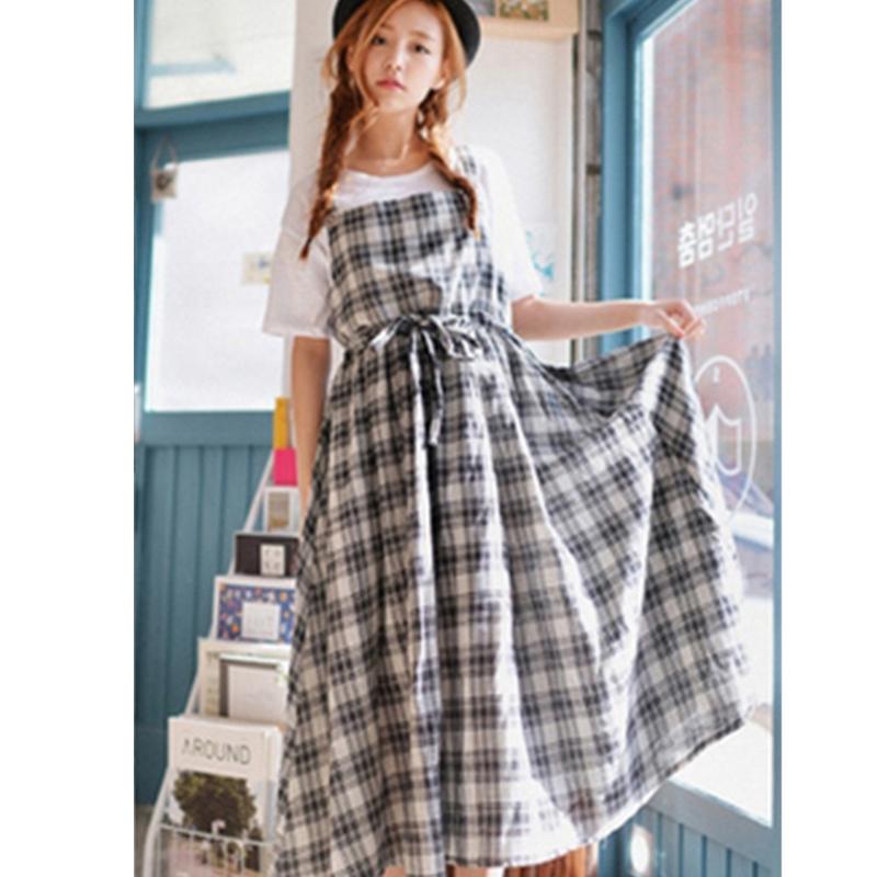 New summers 2016 women's Vintage preppy style plaid one-piece dress loose fluid suspenders full dress mori girl elegant Z050(China (Mainland))