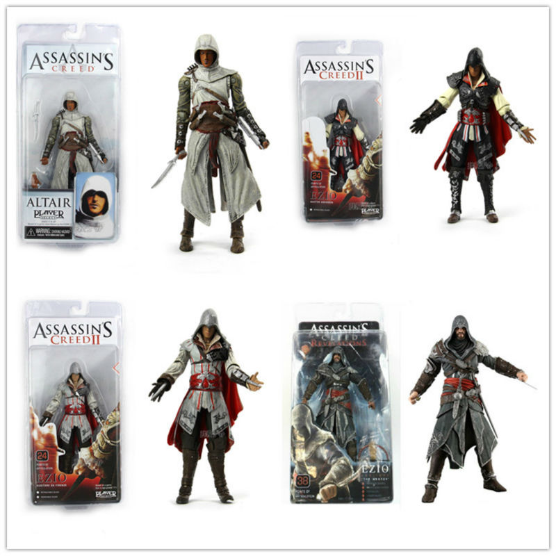 wholesale 20pcs/lot NECA figure Assassins Creed Altair EZIO dolls 4 style for mixd PVC figurine  7  free shipping by EMS<br><br>Aliexpress