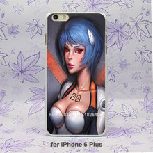 Rei Evangelion Ayanami Anime Pattern hard White Skin Case Cover for iPhone 4 4s 4g 5 5s 5g 5c 6 6s 6 Plus