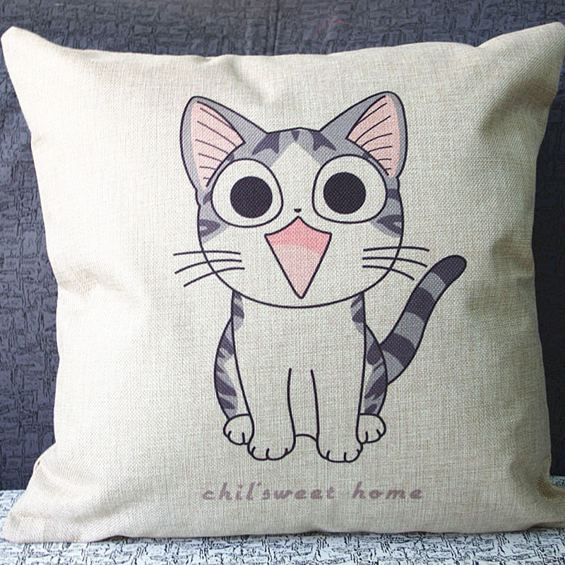 Lovely cat Cushion Cover woven linen summer style cushion cover sofa car office home decorative pillows