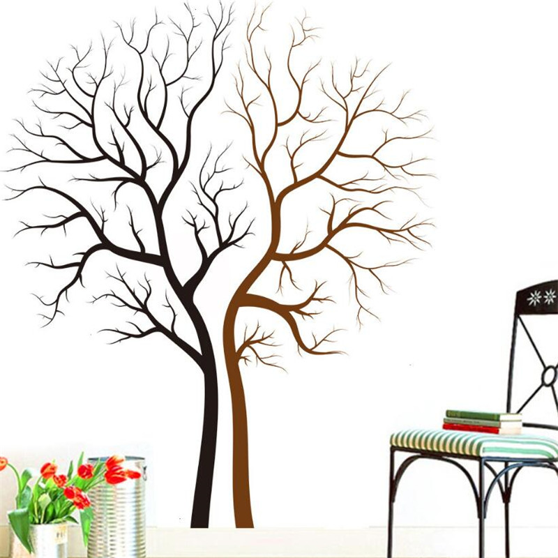 1PCS Lovers Tree Vinyl Wall Decals for Living Room TV Background Bedroom Home Decorative Wall Stickers Removable Home Decors(China (Mainland))
