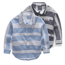 Baby stripe shirt Boys turn-down collar long-sleeve shirts 2016 spring autumn male children's clothing 2-6 Y free shipping