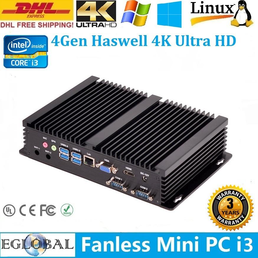 Dual Com Port Industrial Fanless Mini Pc Intel Core I3 4010U Barebone NO RAM/HDD Mini Pc Windows TV BOX Media Player(China (Mainland))