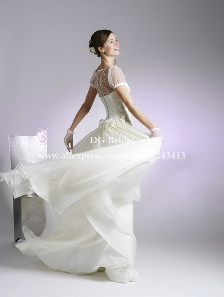 2014 Wedding Dress Two Pieces Bateau Tulle Corset Short Sleeves See Through Spaghetti Flower Ruffle Wedding Gown WK1483(China (Mainland))