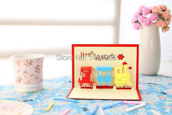 3D Bithday Train Postcard 10 x 15 cm, Bithday Train 3D Postcards, 3D Train Greeting Cards with Envelope for Birthday(China (Mainland))