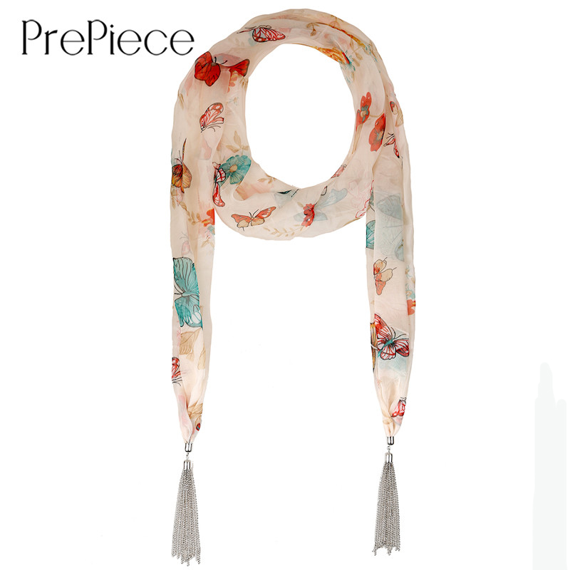 PrePiece Exquisite Chiffon Butterfly Print Scarves Tassel Pendant Long Necklace Scarf 2016 New Trendy Jewelry for Women PSN0099(China (Mainland))